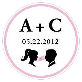 Sweet Silhouettes Small Wedding Favor Sticker