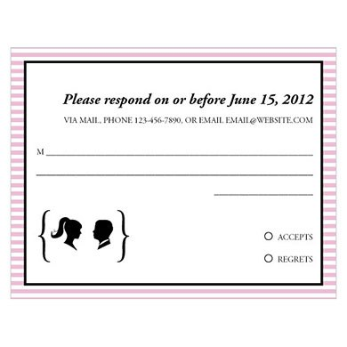 Sweet Silhouettes Wedding RSVP Card