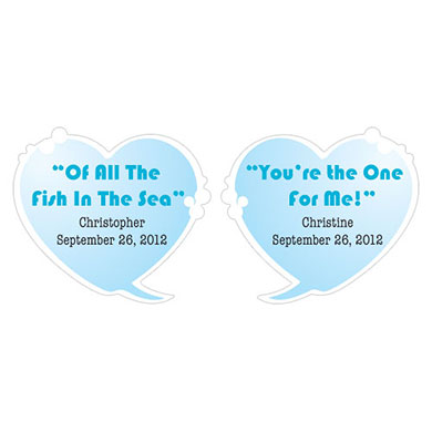 Speech Bubble Wedding Favor Hearts Sticker Set