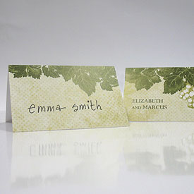A Wine Romance Wedding Place Card With Fold