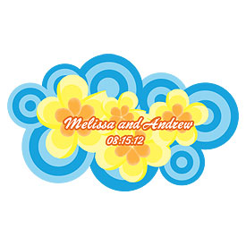 Personalized Wedding Accessory Plumeria Sticker