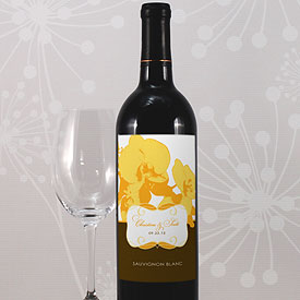 Orchid Glamour Wedding Wine Bottle Label