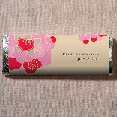 Japanese Blossom Chocolate Bar Wedding Favor