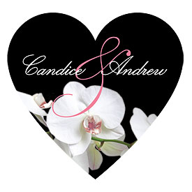 Classic Orchid Heart Wedding Sticker