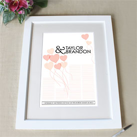 Balloon Hearts Personalized Signature Wedding Certificate
