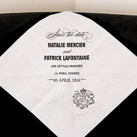 Parisian Save The Date Personalized Wedding Handkerchief