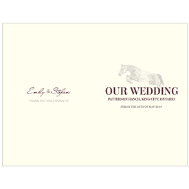 Equestrian Love Wedding Program