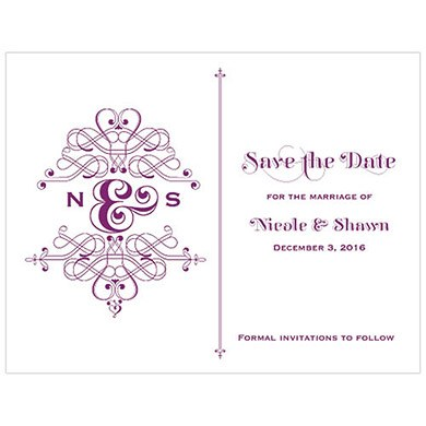 Fanciful Monogram Wedding Save The Date Card