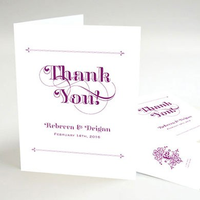 Fanciful Monogram Wedding Thank You Card