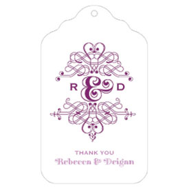 Fanciful Monogram Wedding Diecut Merchandise Tag