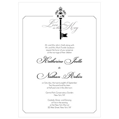 Key Monogram Wedding Signature Wedding Invitation