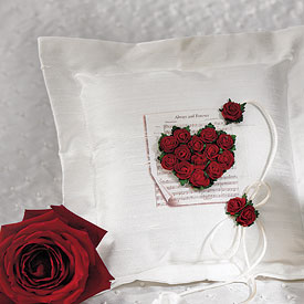 Flower of Love In Romantic Red Square Ring Pillow - Weddingstar