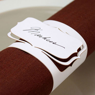 Laser Cut Bracketed Napkin Holder Wedding Place Cards