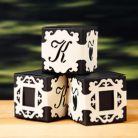 Laser Cut Monogram Baroque Wedding Favor Box Wraps