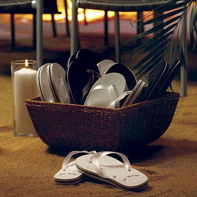Black or White Just Married Beach Flip Flop Wedding Sandals