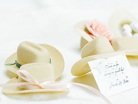miniature cowboy hat wedding favors