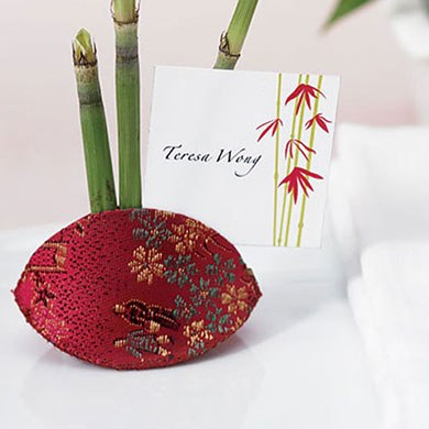 Asian Brocade Wedding Favor and Place Card Holders