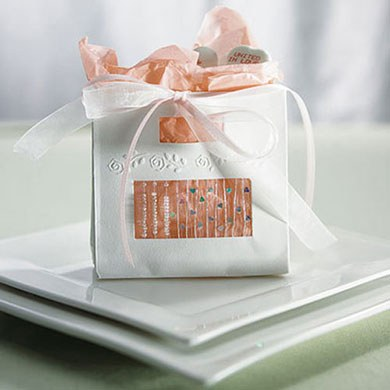 mini wedding bead and heart gift bag favor
