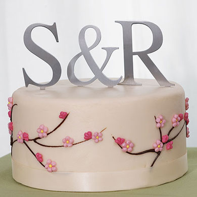 Brushed Silver Monogram Wedding Cake topper