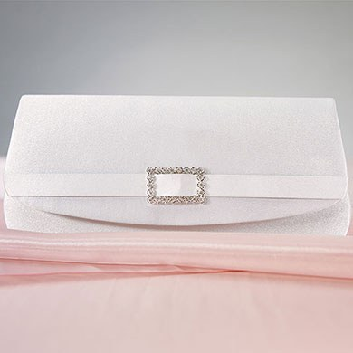 White Satin Crystal Buckle Wedding Evening Bridal Bag