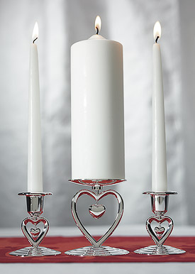 Suspended Heart Wedding Ceremony Unity and Taper Holders