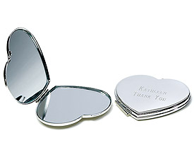 Silver Plated Classic Heart Compact Mirror Wedding Gift