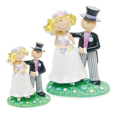 Comical Bride and Groom Figurine Wedding Cake topper