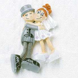 Dangly Leg Comical Bride and Groom Wedding Favor Magnet