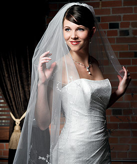 Floral Embroidered Border and Cut Edge Bridal Veil