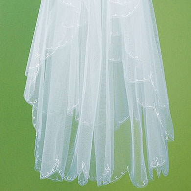 Bridal Accessory Veil with Scalloped and Embroidered Edge