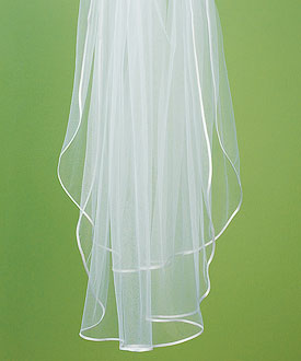 Bridal Accessory Veil with Satin Ribbon Edge