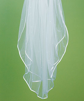 Bridal Accessory Veil with Satin Ribbon and Pearl Border