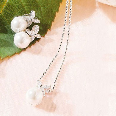Flower and White Pearl Bridal Jewelry Accessory 2 Piece Set