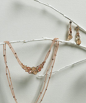 Bridal Jewelry with Champagne and Gold Beads