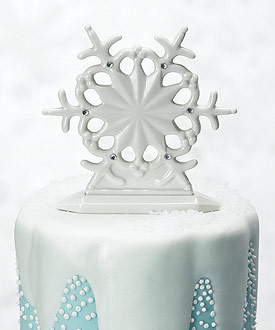 Glazed Porcelain Snowflake Wedding Cake Topper