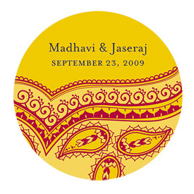 Indian Theme Wedding Favor Stickers