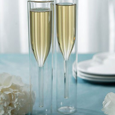 Contemporary Double-walled Wedding Reception Champagne Flutes