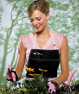 Pink Apron and Glove Wedding Gift Set