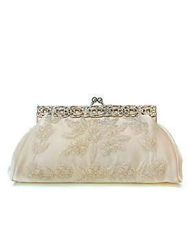 Beaded Flowers with Frame Clasp Evening Bridal Bag in Ivory