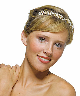 Garden Bridal Tiara in Gold with Ivory Pearls Accessory