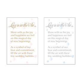 Wedding favor Love is in the Air Bubble Tag Card
