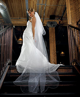 Two Tier White Standard Tulle Floor Length Bridal Veil
