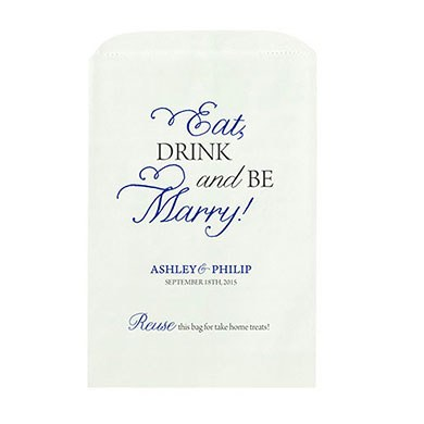 Eat Drink Marry Printed Flat Pocket Goodie Bag