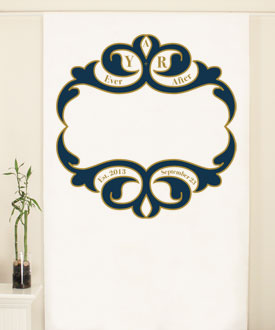 Ornate Monogram Personalized Wedding Photo Booth Backdrop