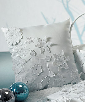 Winter Finery Wedding Ceremony Ring Pillow