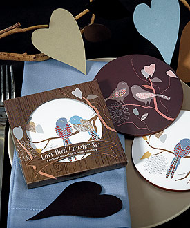 love bird wedding favor cork coaster set