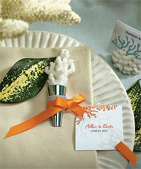 coral wedding favor bottle stopper