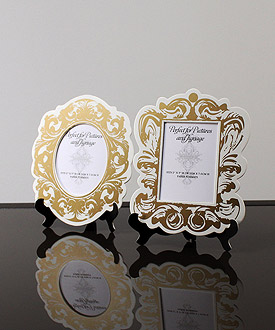 small black and white baroque wedding frames 