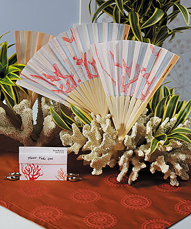 beach wedding favor hand fans