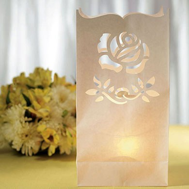 Luminary Bags with Die Cut Rose Pattern
